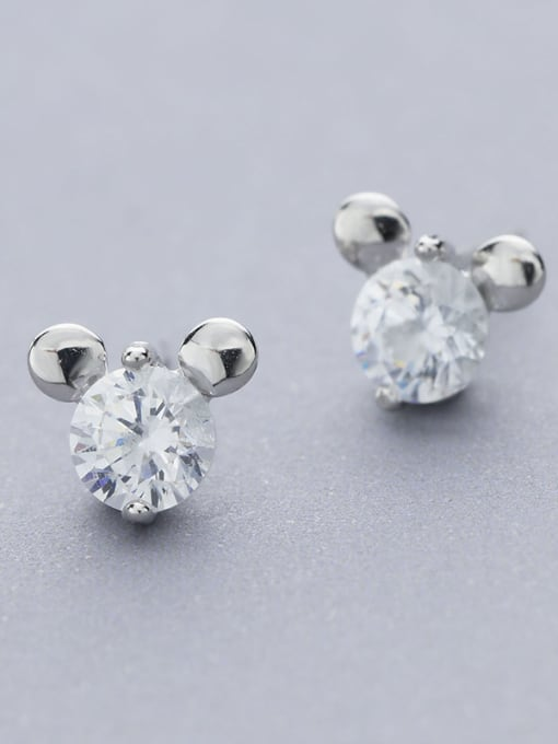 White Lovely Mickey Mouse Shaped stud Earring