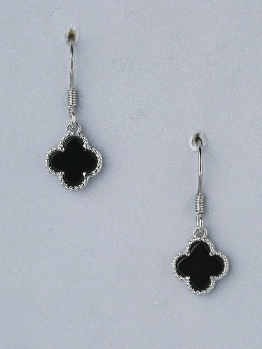 One Silver Women Black Clover Shaped hook earring 2