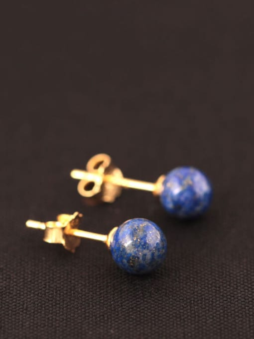 SILVER MI Natural Blue Stones stud Earring 1
