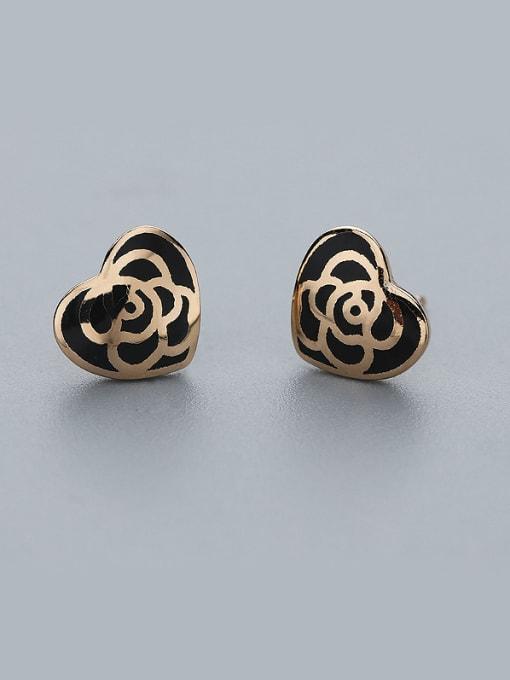 Black Retro Style Heart Shaped Earrings