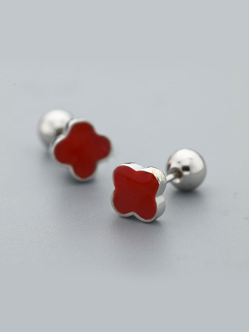 One Silver Red Clover Shaped stud Earring
