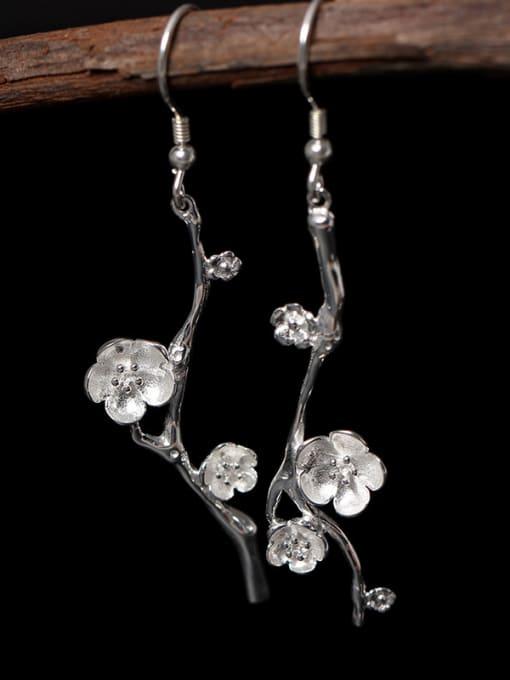 SILVER MI Silver Asymmetry Hypoallergenic Drop hook earring