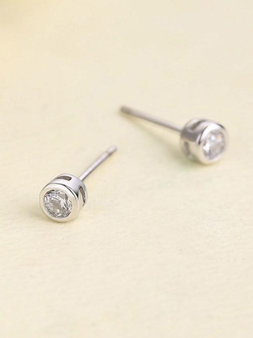 One Silver Women Platinum Plated Zircon stud Earring 0