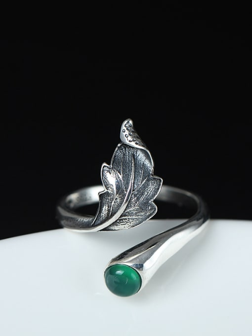 SILVER MI Classical Feather-shape Opening Statement Ring 0