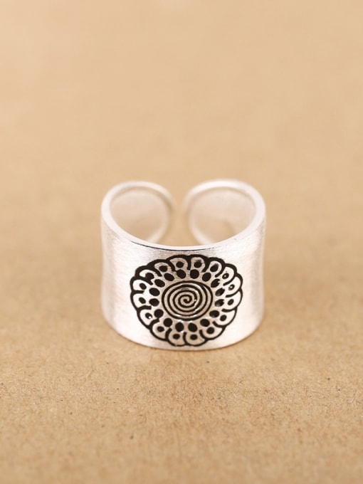 Peng Yuan Personalized Flower Silver Opening Ring 0