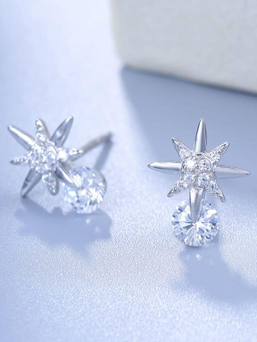 One Silver Elegant Star Shaped stud Earring 2