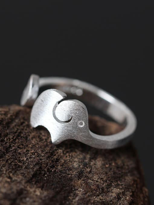 SILVER MI Elephant Fashion S925 Silver Opening Ring 1