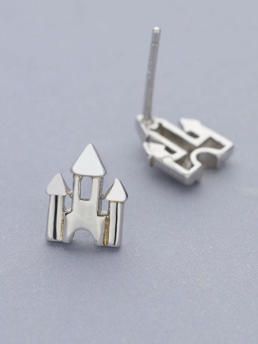 One Silver 925 Silver Castle Shaped stud Earring 2