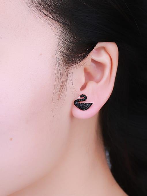 One Silver 925 Silver Swan Pearl stud Earring 1