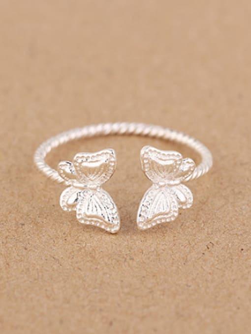 Peng Yuan Fashion Butterflies Silver Opening Ring 0