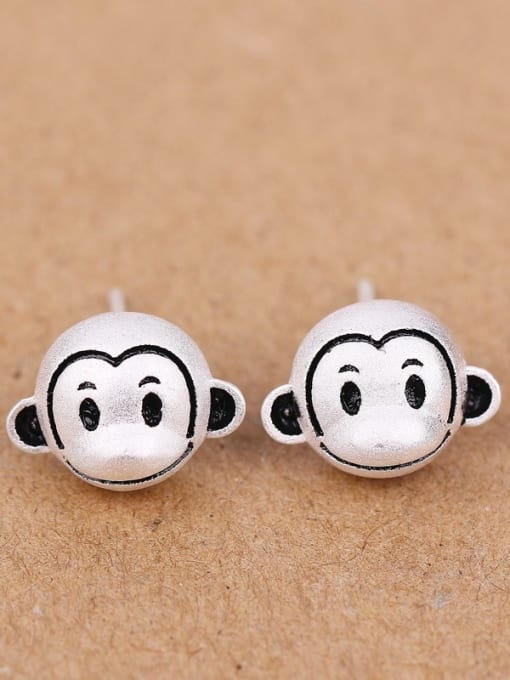 Peng Yuan Lovely Monkeys Silver stud Earring 0