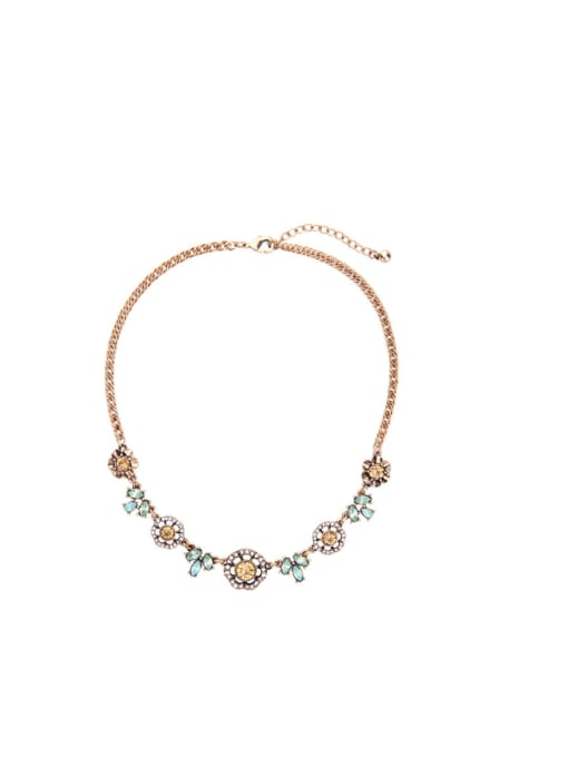 KM Retro Gold Plated Flower Women Necklace