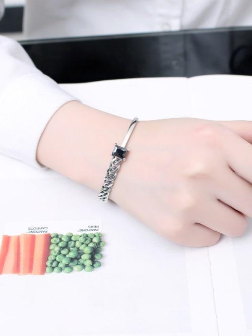 Peng Yuan Black Stone Woven Chain Opening Bangle 1