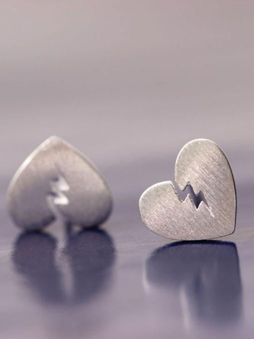 SILVER MI Heart-shape Fashionable Stud Earrings 1