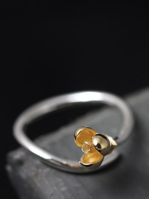 SILVER MI Small Flower S925 Silver Opening Ring 1