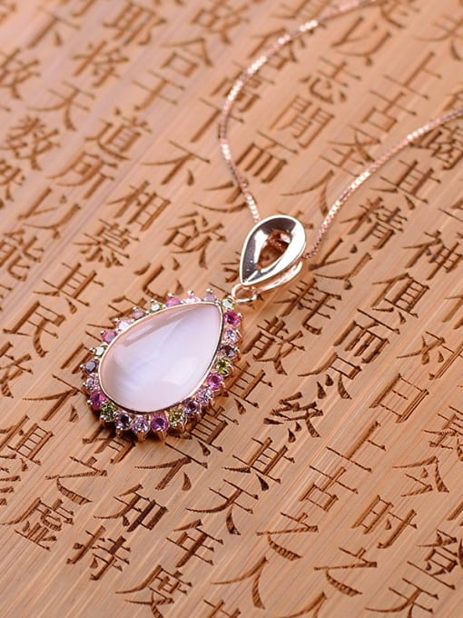 One Silver Women Water Drop Colorful Zircons Pendant 2