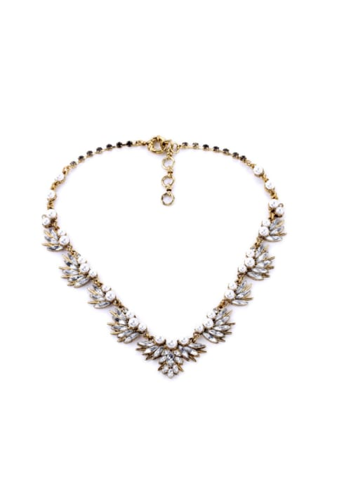 KM Shining Rhinestones Leaves-shape Necklace 0