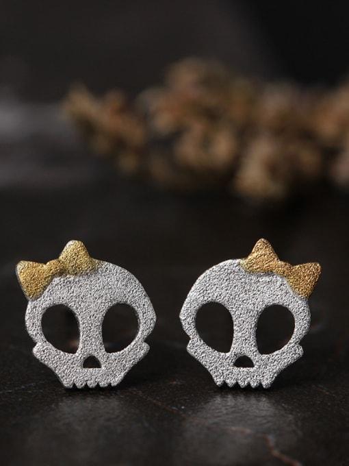 SILVER MI Retro Punk Personality Skull stud Earring
