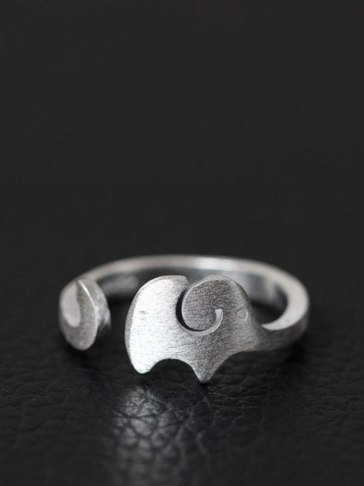 SILVER MI Elephant Fashion S925 Silver Opening Ring 0