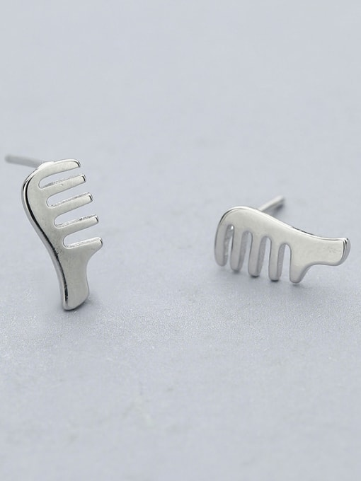One Silver Simply Style Comb Shaped stud Earring 0
