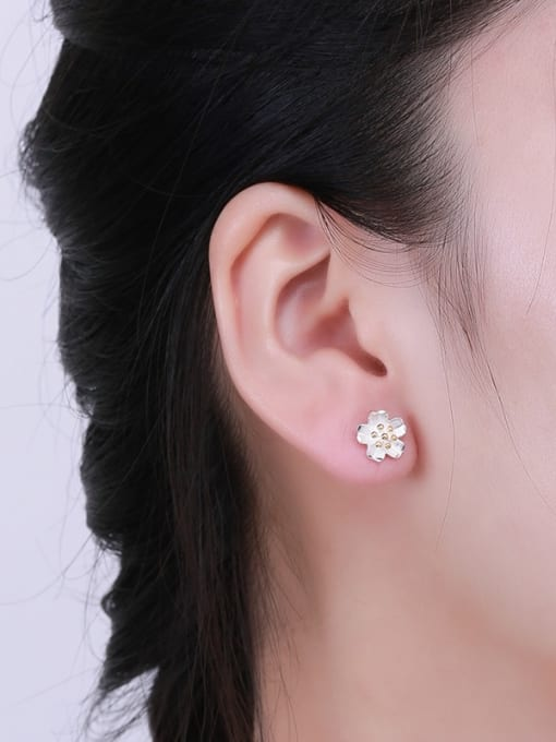One Silver S925 silver yellow color flower fashion all-match Tremella nail hook group 1