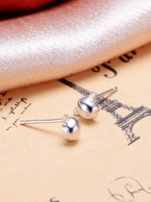 One Silver 925 Silver Egg Shaped Earrings 1