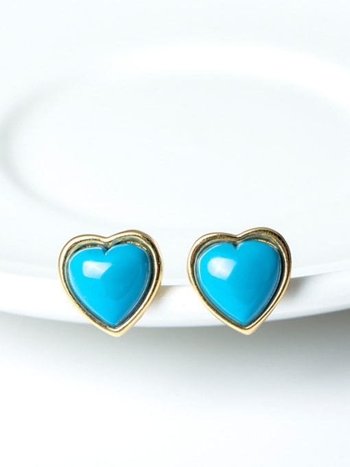 SILVER MI Turquoise Anti Allergy Silver stud Earring 1
