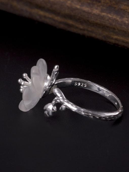 SILVER MI Fashion Crystal Flower Opening Ring 1