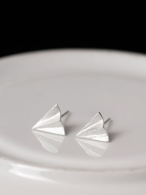SILVER MI S925 Silver Aircraft Stud Earrings 2