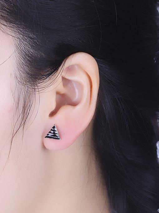 One Silver Fashion Triangle Shaped Stud Earrings 1