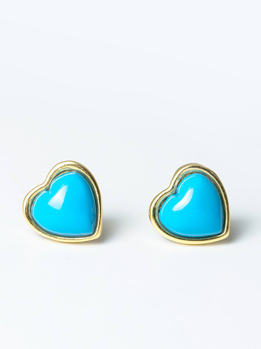 SILVER MI Turquoise Anti Allergy Silver stud Earring