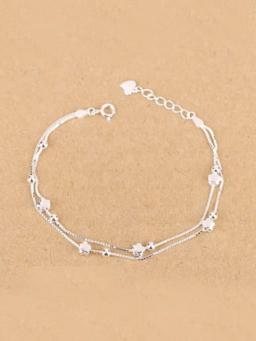 Peng Yuan Simple Tiny Flowers Silver Bracelet 0