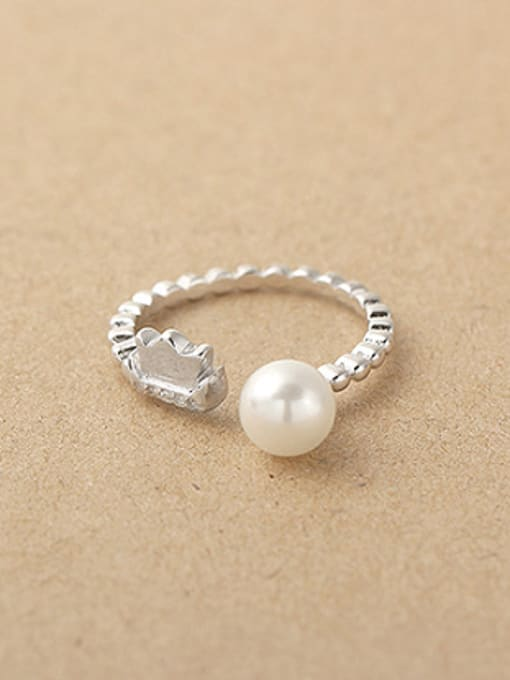 Peng Yuan Freshwater Pearl Crown Opening Midi Ring