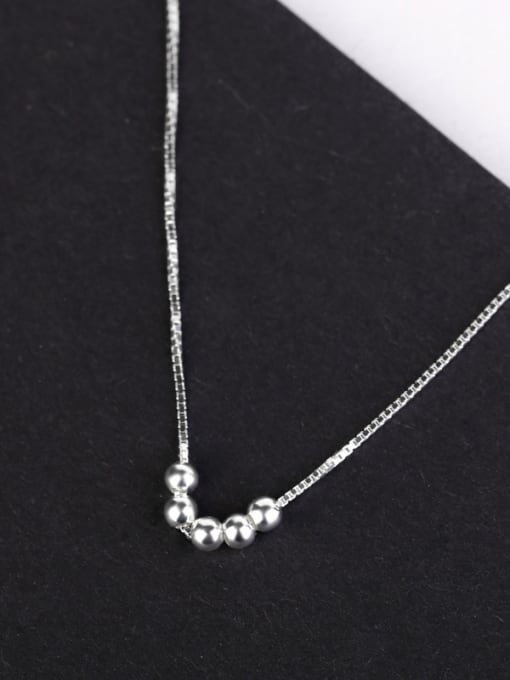Peng Yuan Simple Tiny Beads Silver Necklace