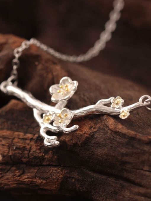 SILVER MI Creative Flower Plum Silver Necklace