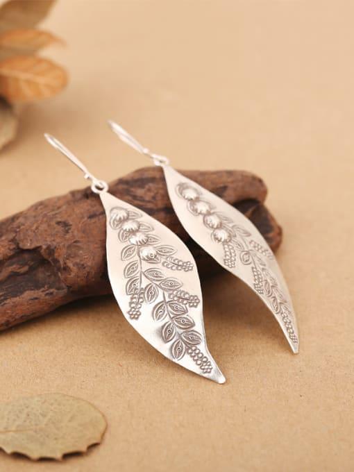 Peng Yuan Ethnic Leaf Handmade Silver hook earring 2