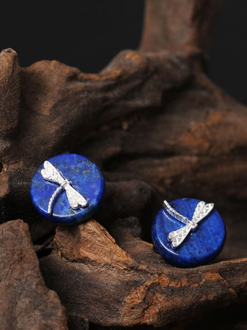 blue National Style Dragonfly stud Earring