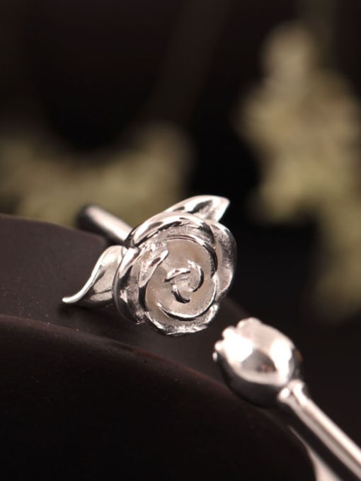 SILVER MI S925 Silver Rose Flower Opening bangle