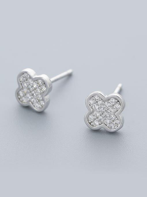 One Silver Women Clover Shaped Zircon Earrings