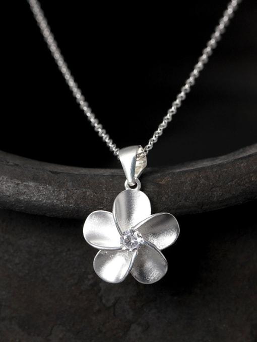 SILVER MI S925 Silver Flower Fashion Necklace