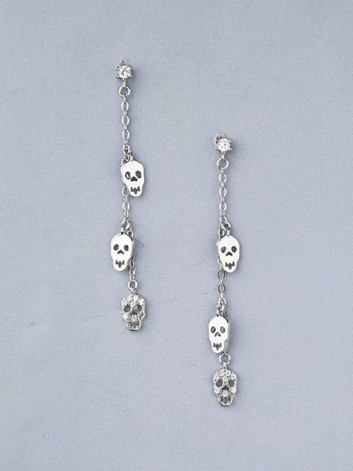 One Silver Women Skull Shaped Stud Earrings