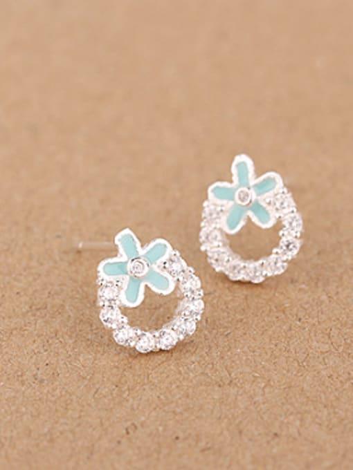 Blue Fashion Rhinestones Flowery stud Earring