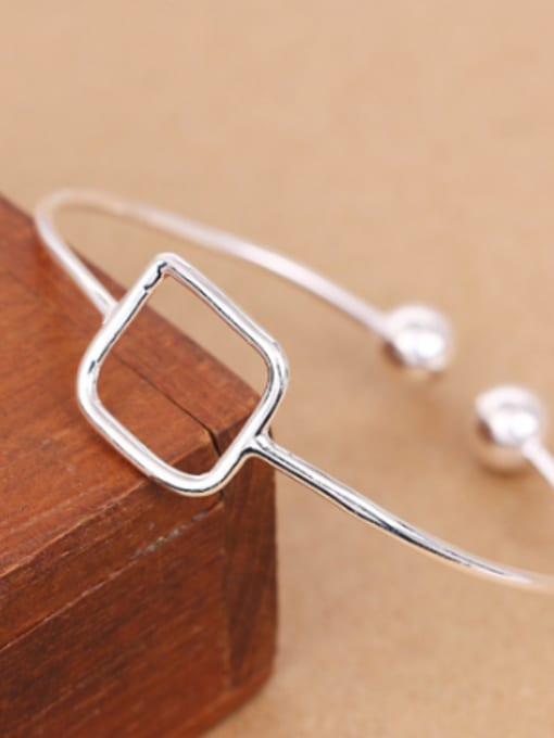 Peng Yuan Simple Hollow Square Opening Bangle 2