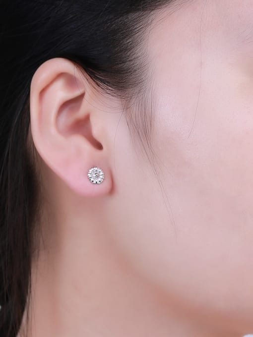 One Silver 925 Silver Chrysanthemum Shaped cuff earring 1