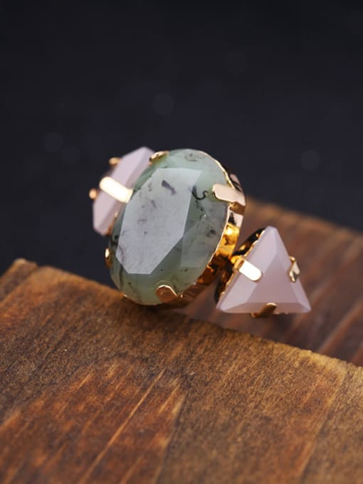 KM Oval Triangle Stones Alloy Ring 2