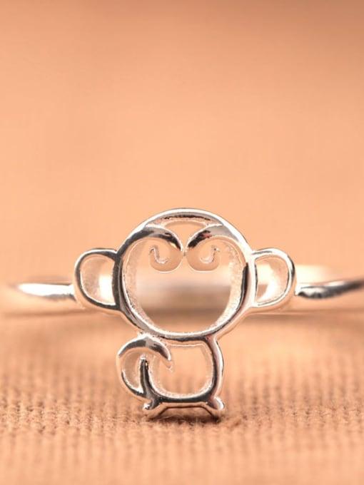 SILVER MI Monkey Shaped Women Opening Ring 0