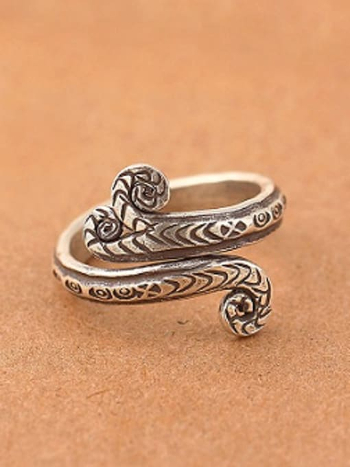 Peng Yuan Retro Snake Handmade Thai Silver Ring 0