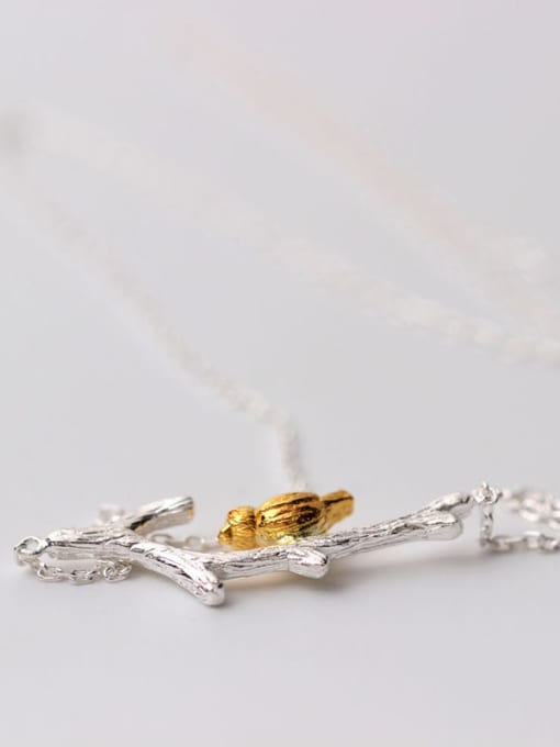 SILVER MI Two Color Plated Branch Bird Necklace 1