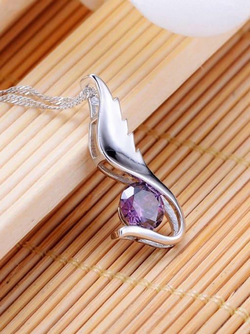 One Silver 925 Silver Purple Zircon Pendant 2