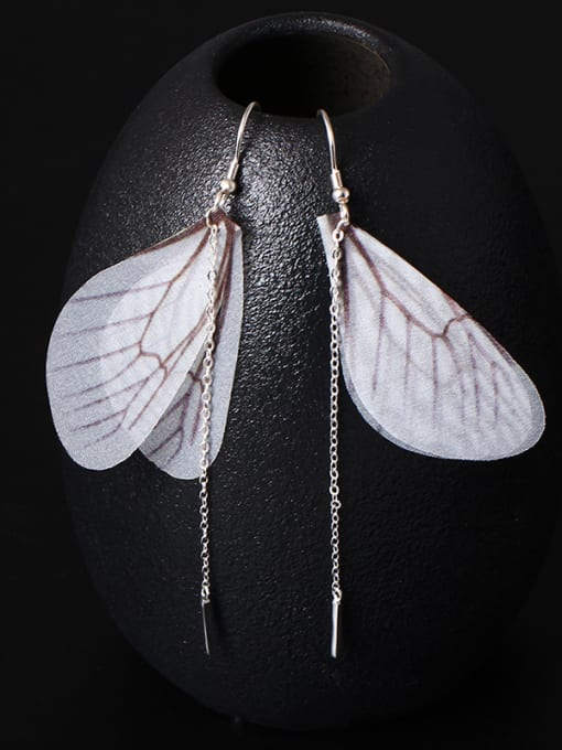 SILVER MI Insect Wing Personality Fringe drop earring 2